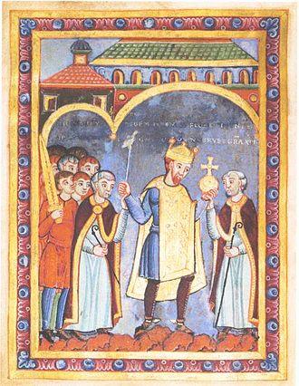 英語版・支配者の地位のシンボルを持つ神聖ローマ皇帝ハインリヒ3世