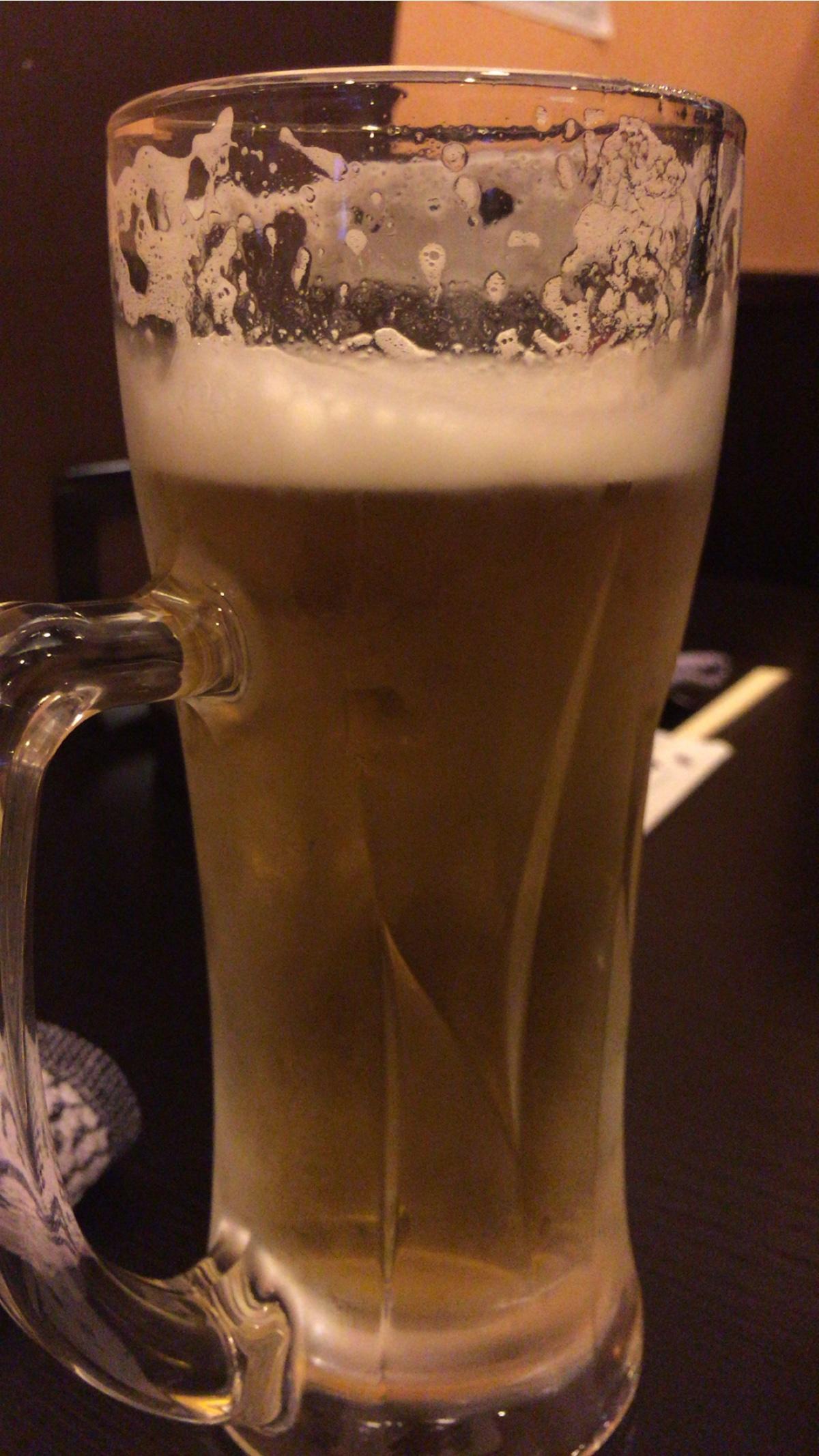 大阪新世界通天閣付近の焼肉屋【味斗】生ビール