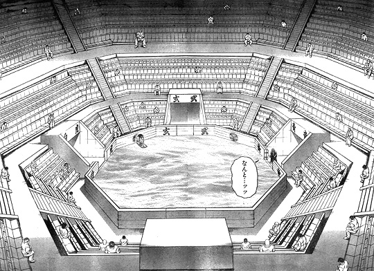 刃牙道116話 ガラガラの地下闘技場