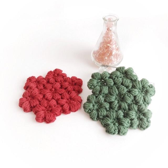 手編み雑貨 HanahanD クリスマス コースター インテリア