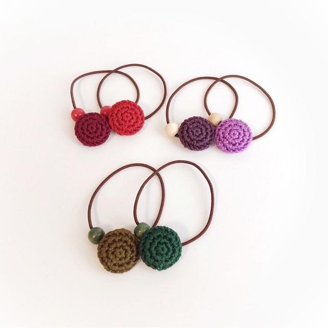 手編み雑貨 HanahanD くるみボタン ヘアゴム セット プレゼント