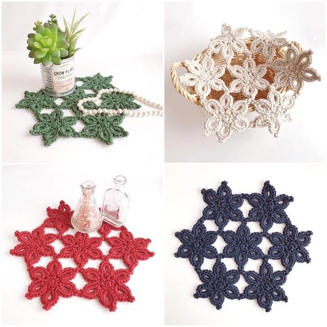 手編み雑貨 HanahanD ドイリー クリスマス 冬 インテリア