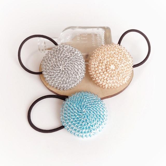 手編み雑貨 HanahanD ボタン ビーズ ヘアゴム 大人 ビーズヘアアクセサリー