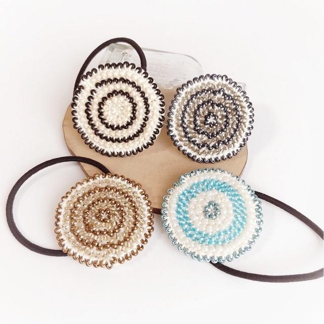 手編み雑貨 HanahanD ビーズ編み 丸 ヘアゴム