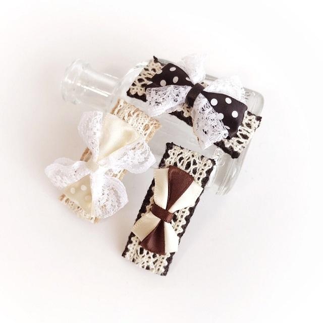 手編み雑貨 HanahanD パッチンピン スリーピン セット キッズ ヘアアクセサリー