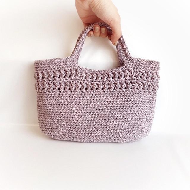 手編み雑貨 HanahanD コットン バッグ ハンドバッグ 散歩