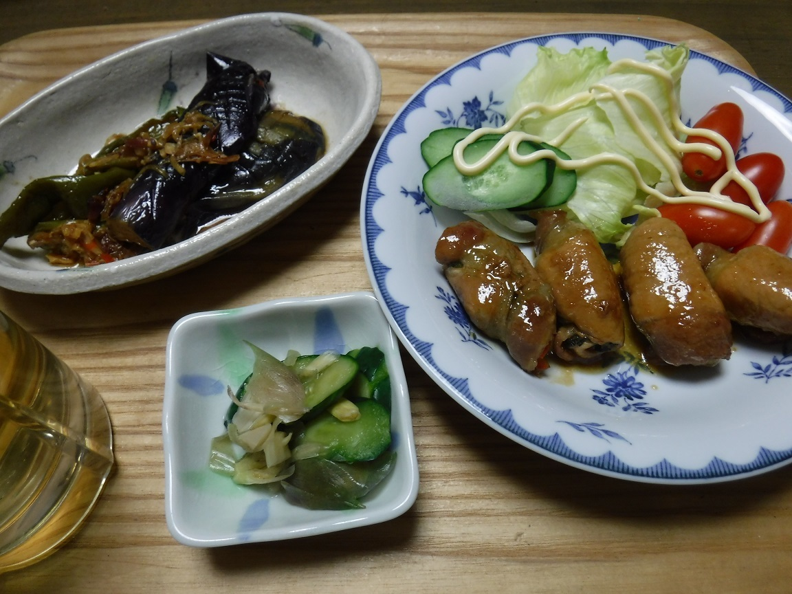 ブログ 夕食 肉巻きと茄子とピーマンの南蛮漬け.jpg