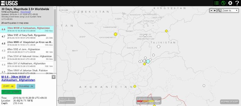 アフガニスタンでM6.6の地震発生…パキスタンやインドも揺れる 深さ約210km