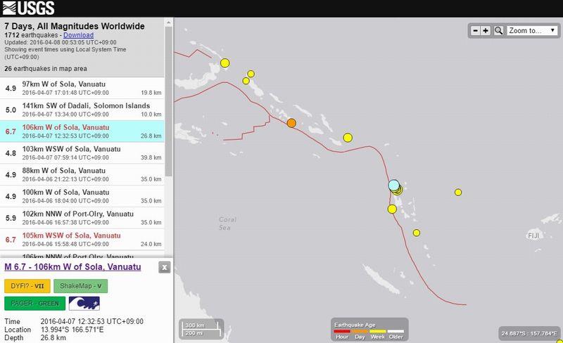 【M6.7以上が3回目】バヌアツ付近で「M6.7」の地震…今月になりM5クラスも「20回」近く発生中