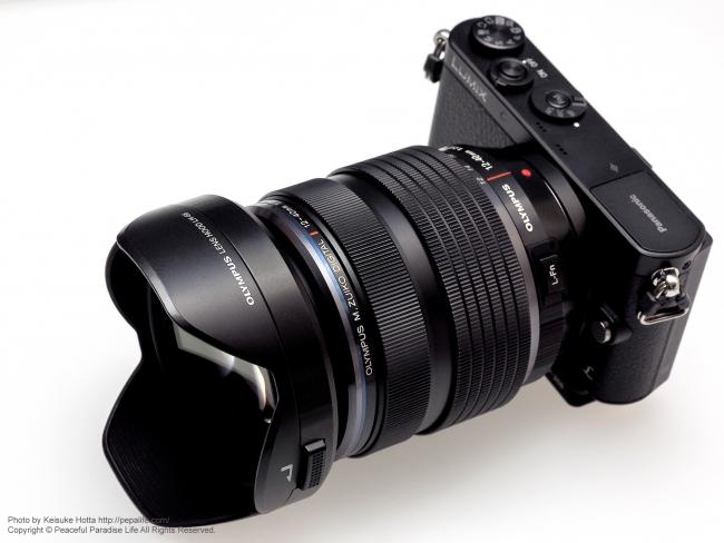 OLYMPUS ZUIKO PRF-ZD62 PRO を M.ZUIKO DIGITAL ED 12-40mm F2.8 PRO + GM1に装着してフードを付けると見えない