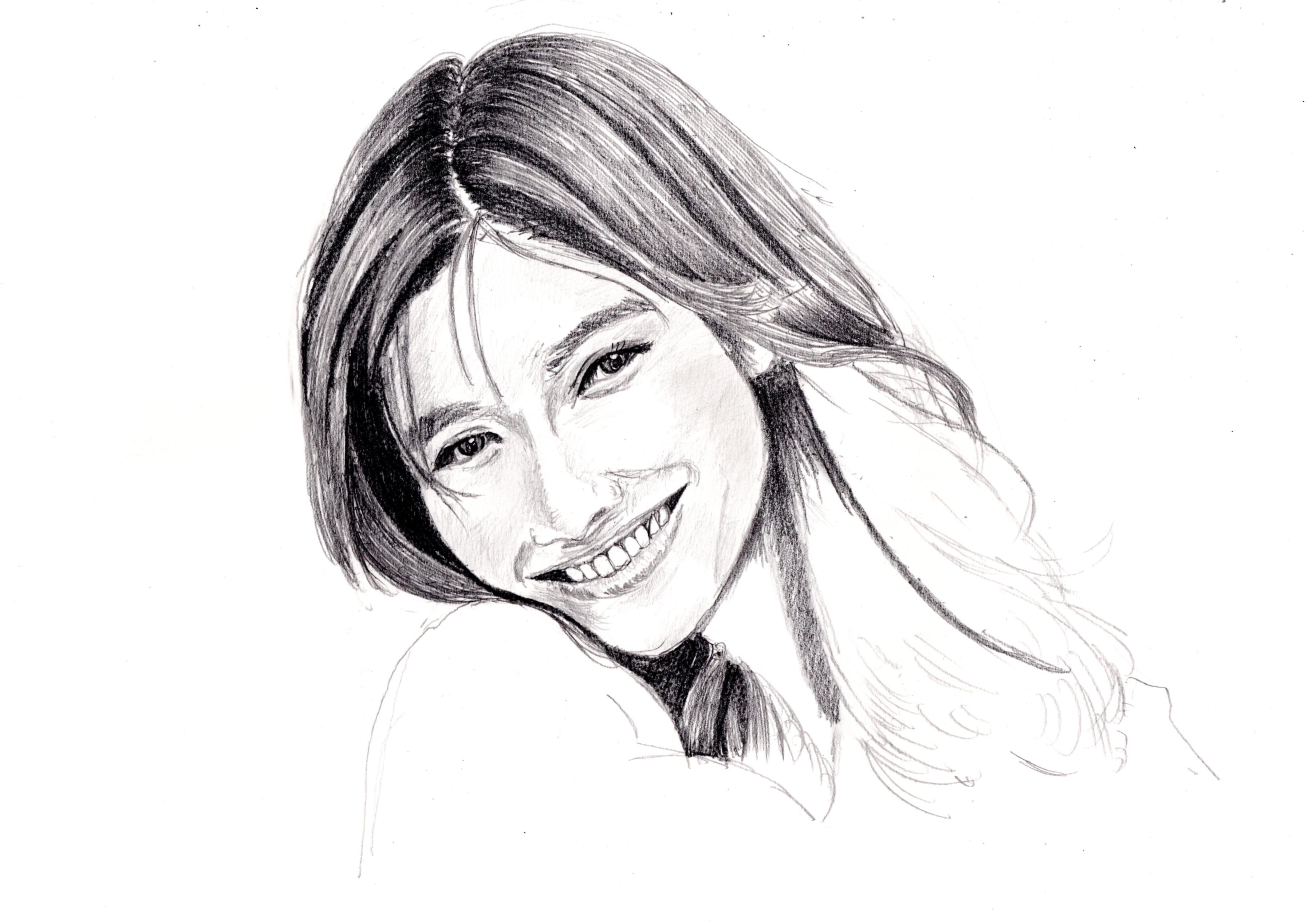 篠原涼子の鉛筆画似顔絵 途中経過